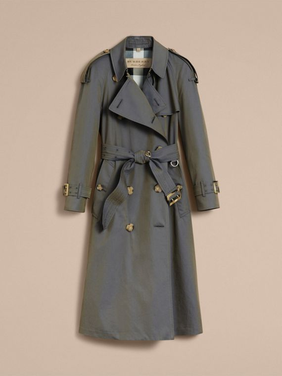 Tropical Gabardine Trench Coat in Storm Blue - Women | Burberry - cell image 3