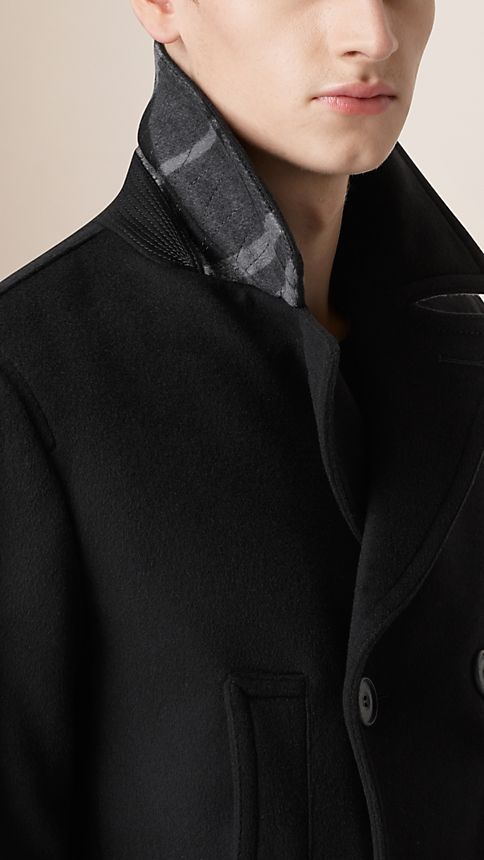 Black Virgin Wool Cashmere Pea Coat - Image 6