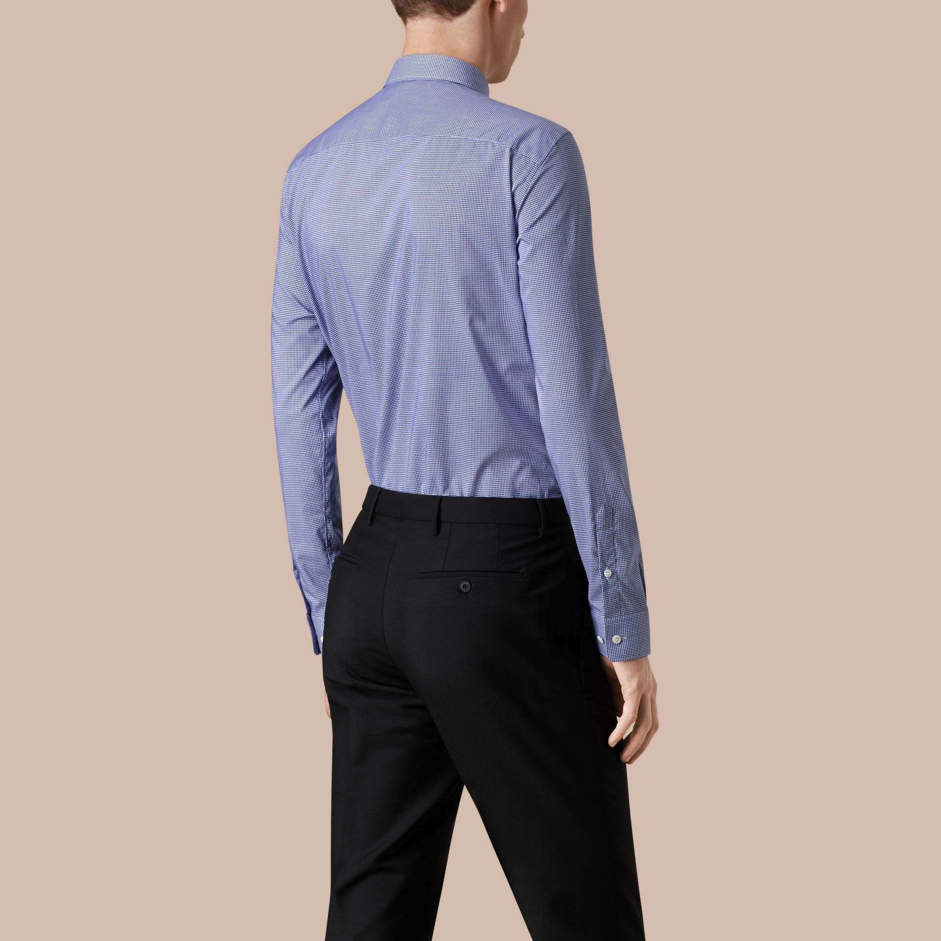 Modern Fit Gingham Cotton Poplin Shirt in Dark Empire Blue - gallery image 2