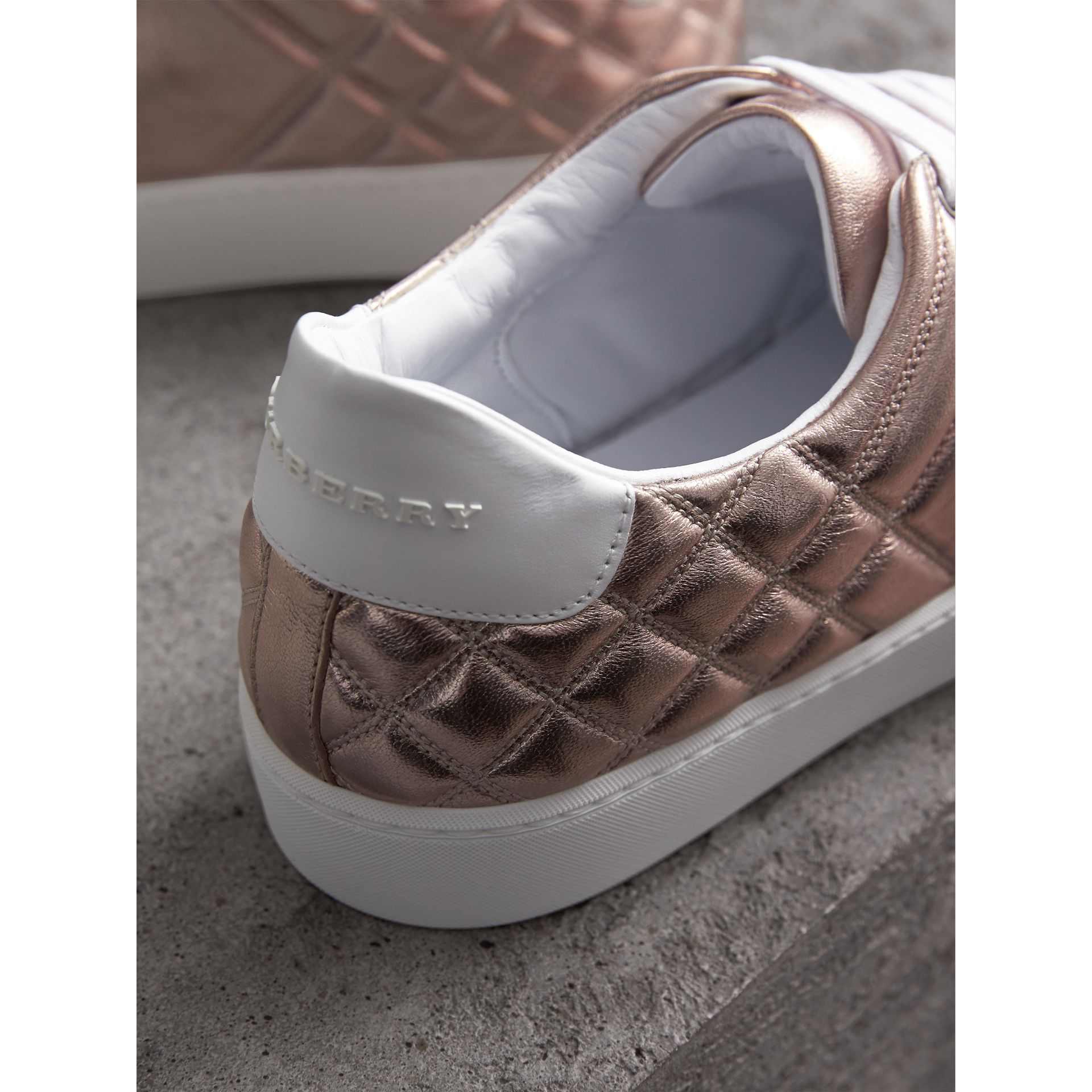 Metallic Check-quilted Leather Trainers in Nude - Women | Burberry - gallery image 2