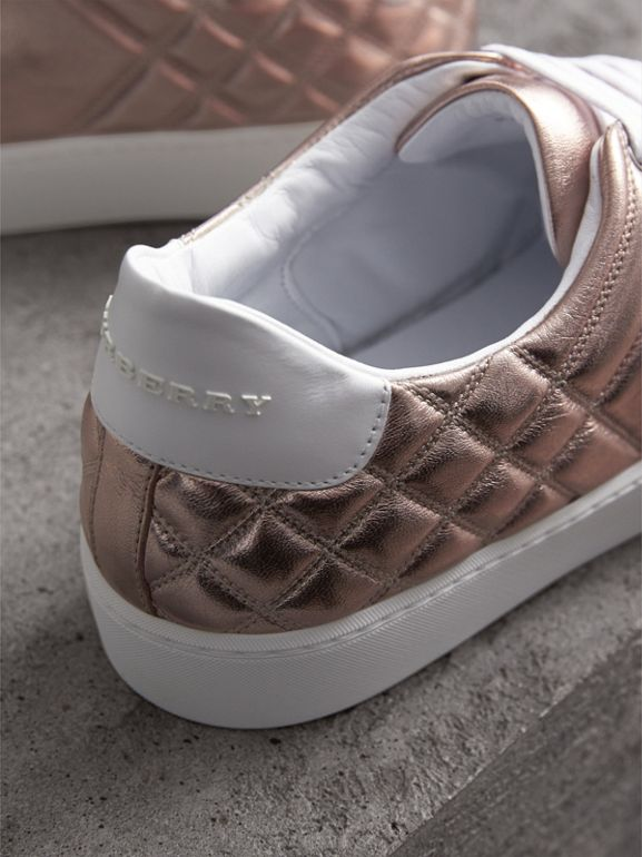 Metallic Check-quilted Leather Sneakers in Nude - Women | Burberry - cell image 1