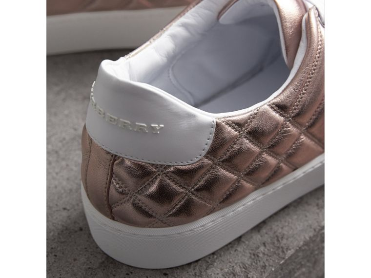 Metallic Check-quilted Leather Trainers in Nude - Women | Burberry - cell image 1