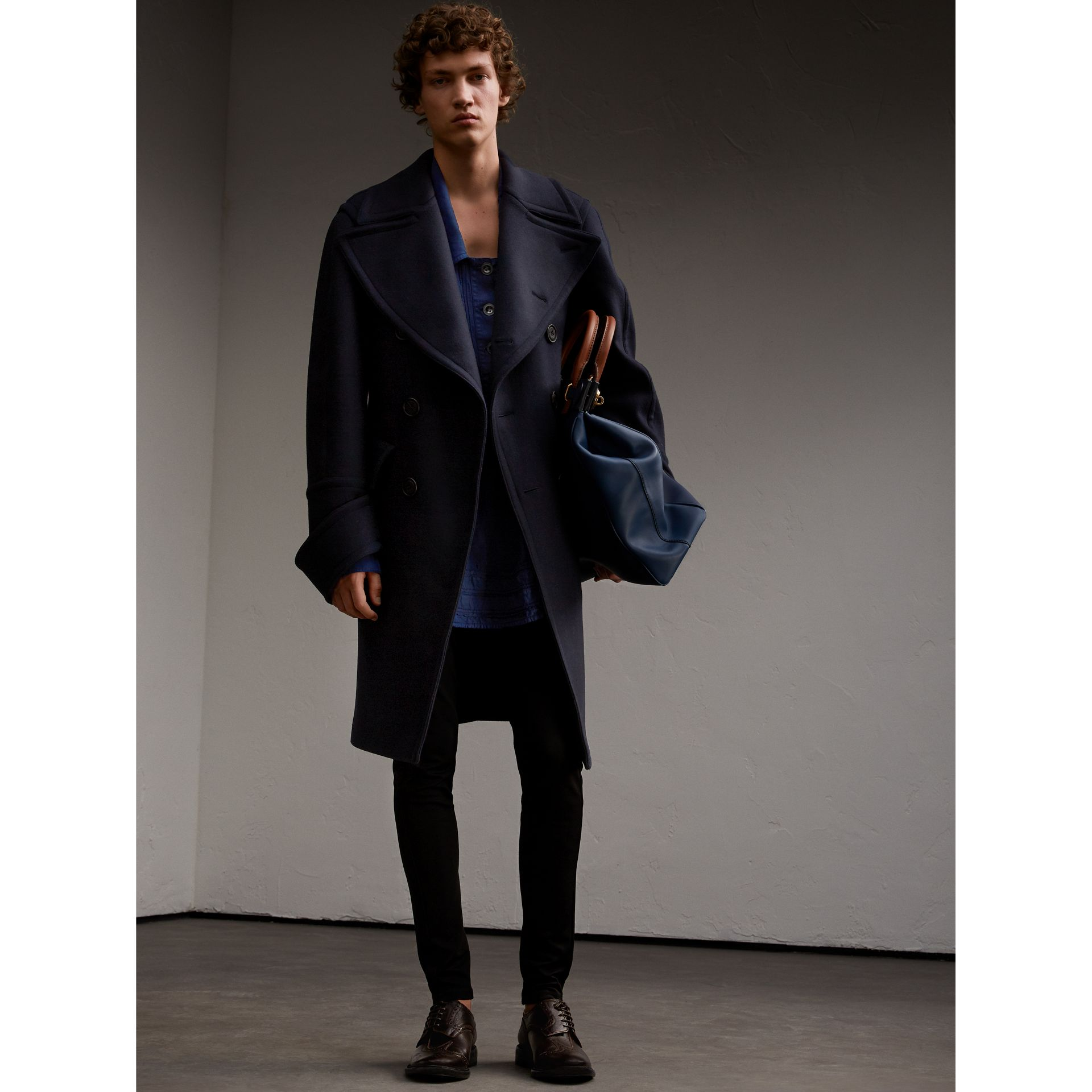 Lyocell Linen Cotton Smock Shirt in Dark Blue - Men | Burberry - gallery image 6