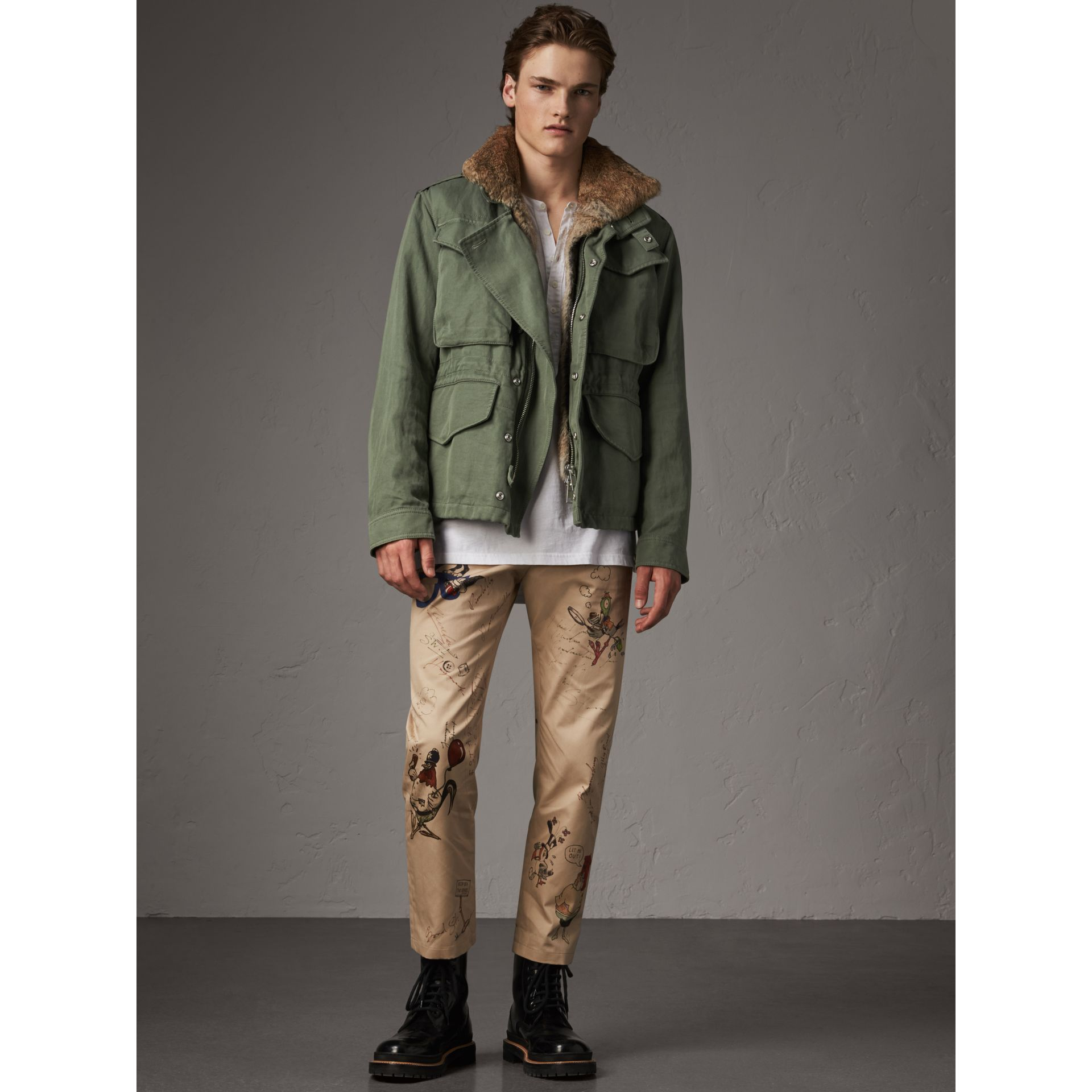 Packaway Hood Cotton Field Jacket with Fur Warmer in Slate Green - Men | Burberry - gallery image 1