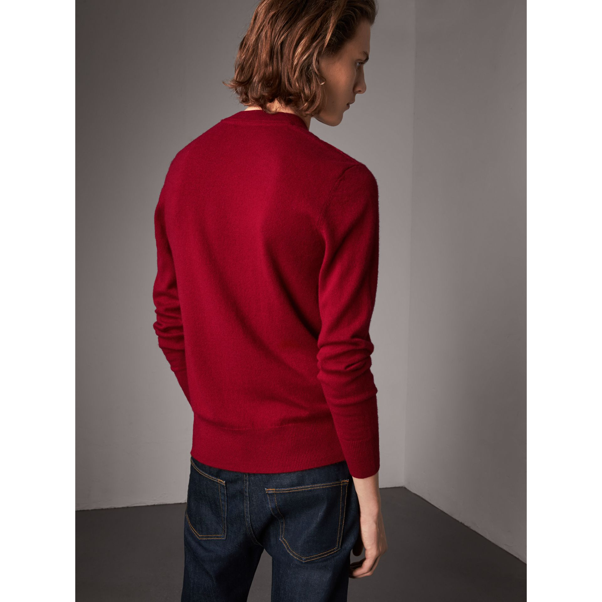 Cashmere V-neck Sweater in Crimson Red - Men | Burberry - gallery image 3