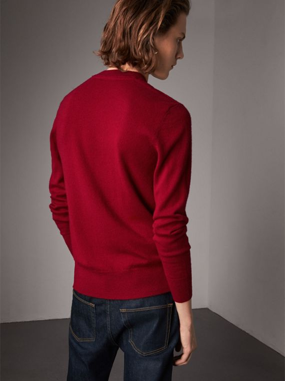Cashmere V-neck Sweater in Crimson Red - Men | Burberry Singapore - cell image 2