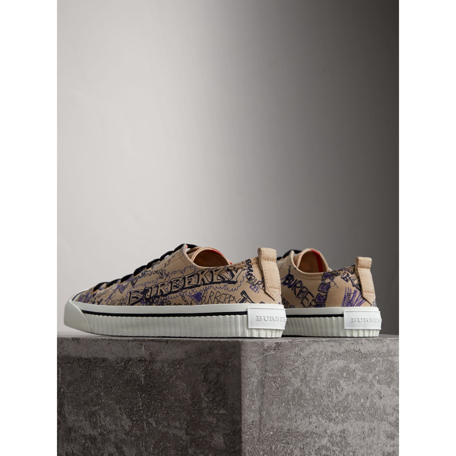 Doodle Print Cotton Gabardine Sneakers in Honey - Men | Burberry - gallery image 3