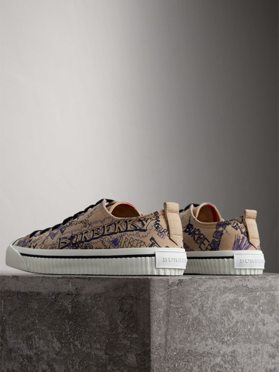 Doodle Print Cotton Gabardine Sneakers in Honey - Men | Burberry - cell image 3