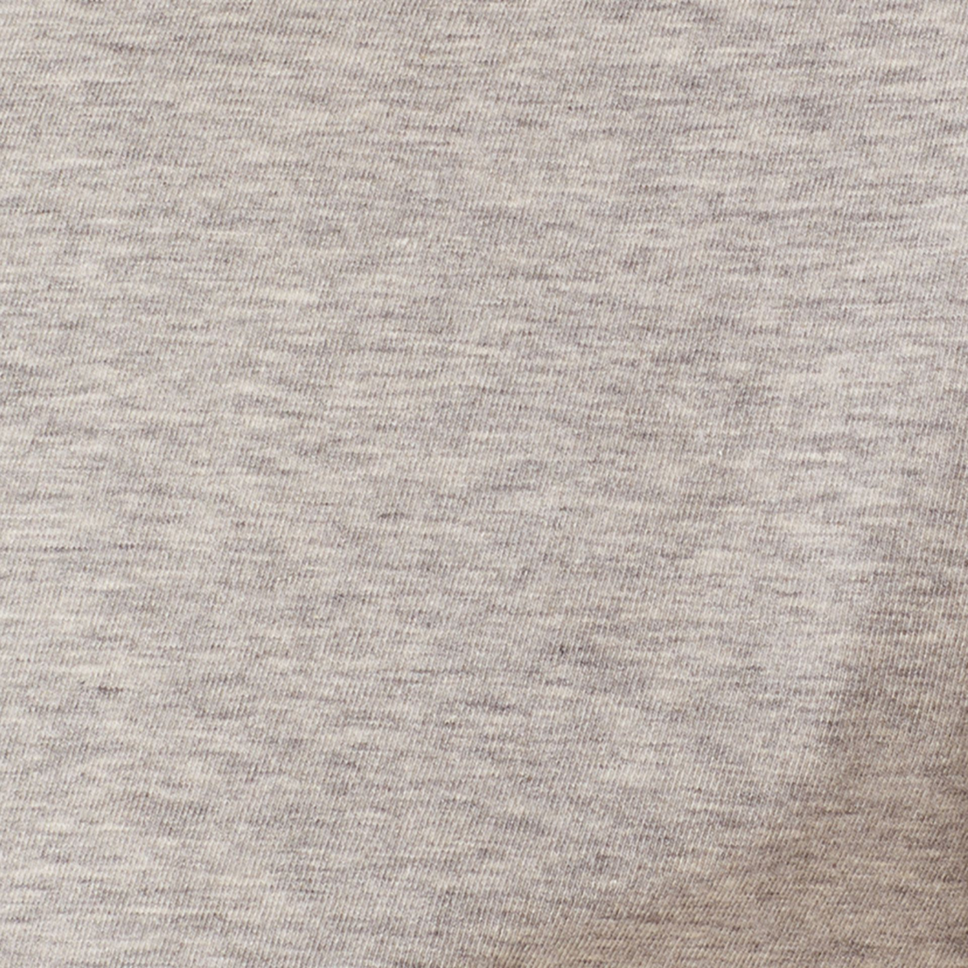 Check Cuff Stretch Cotton T-Shirt Pale Grey Melange - gallery image 2