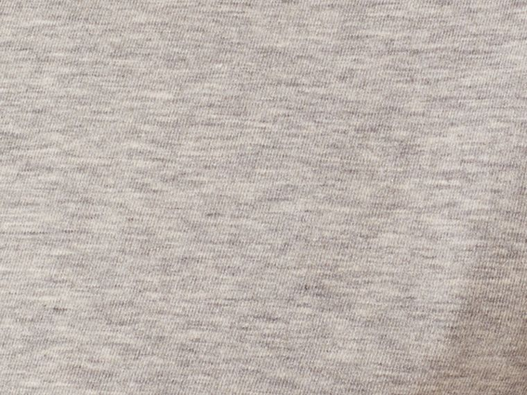 Check Cuff Stretch Cotton T-Shirt in Pale Grey Melange - cell image 1