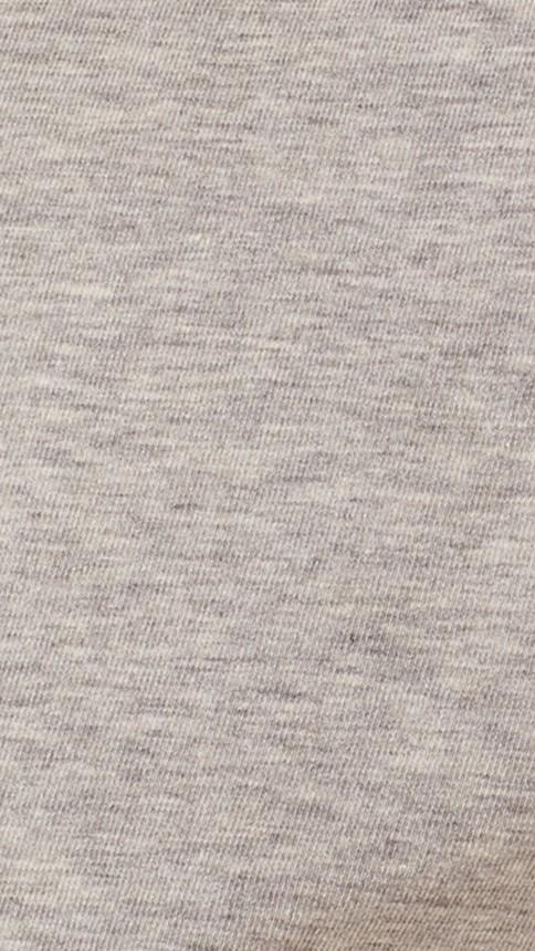 Pale grey melange Check Cuff Stretch Cotton T-Shirt Pale Grey Melange - Image 2