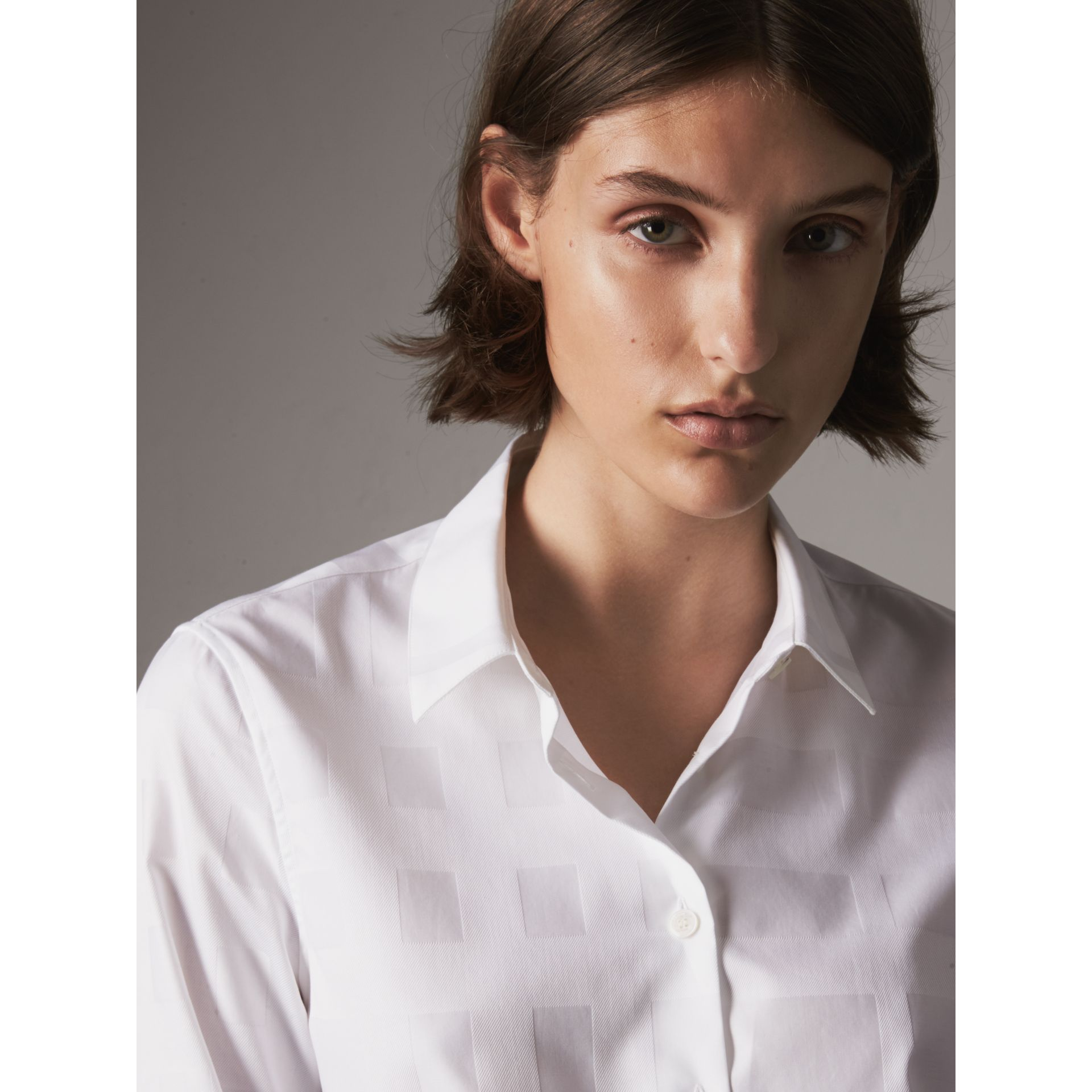 Check Jacquard Cotton Shirt in White - Women | Burberry - gallery image 2