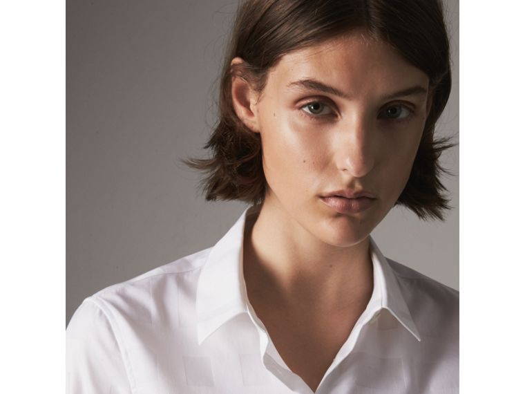 Check Jacquard Cotton Shirt in White - Women | Burberry - cell image 1