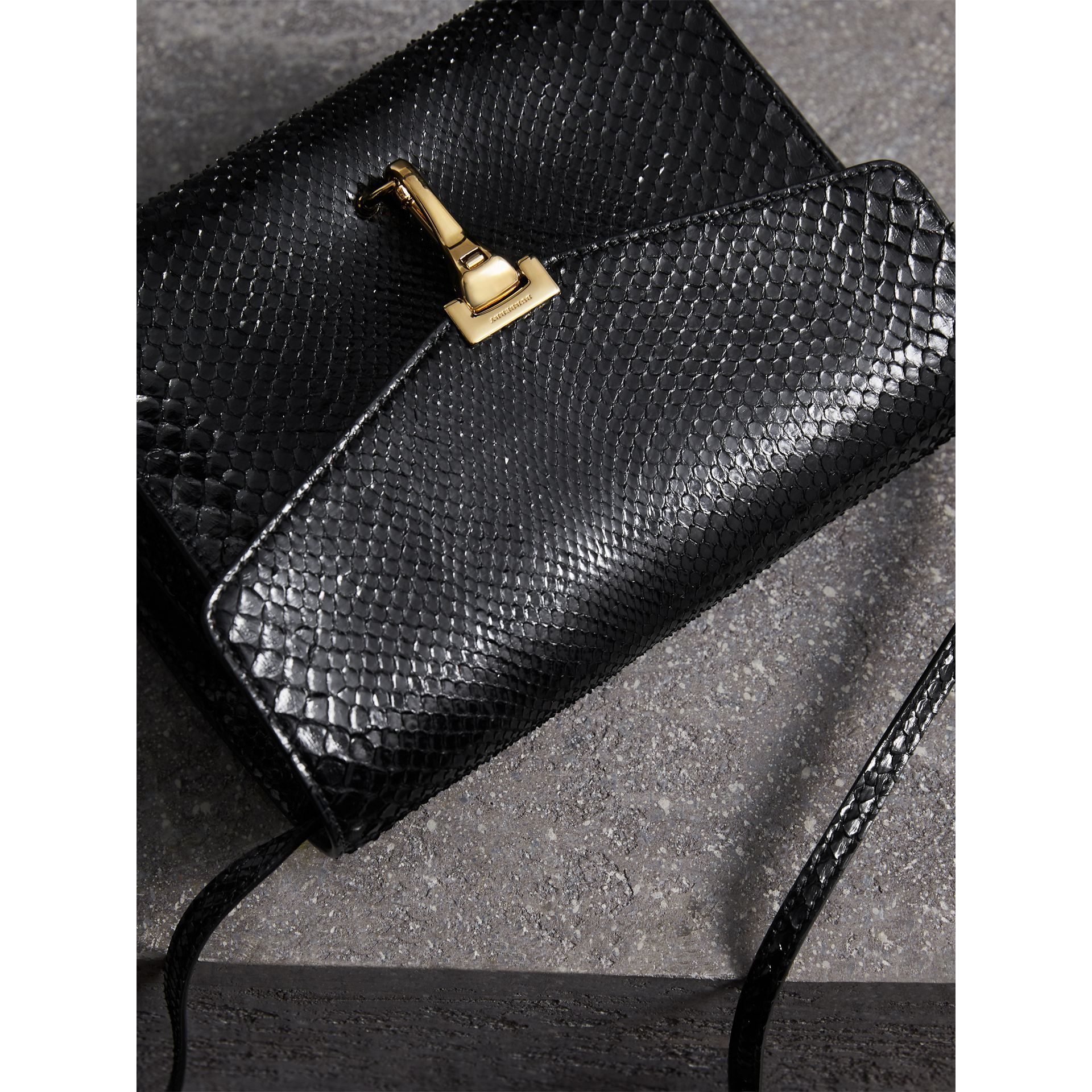 Small Python Crossbody Bag in Black - Women | Burberry - gallery image 6
