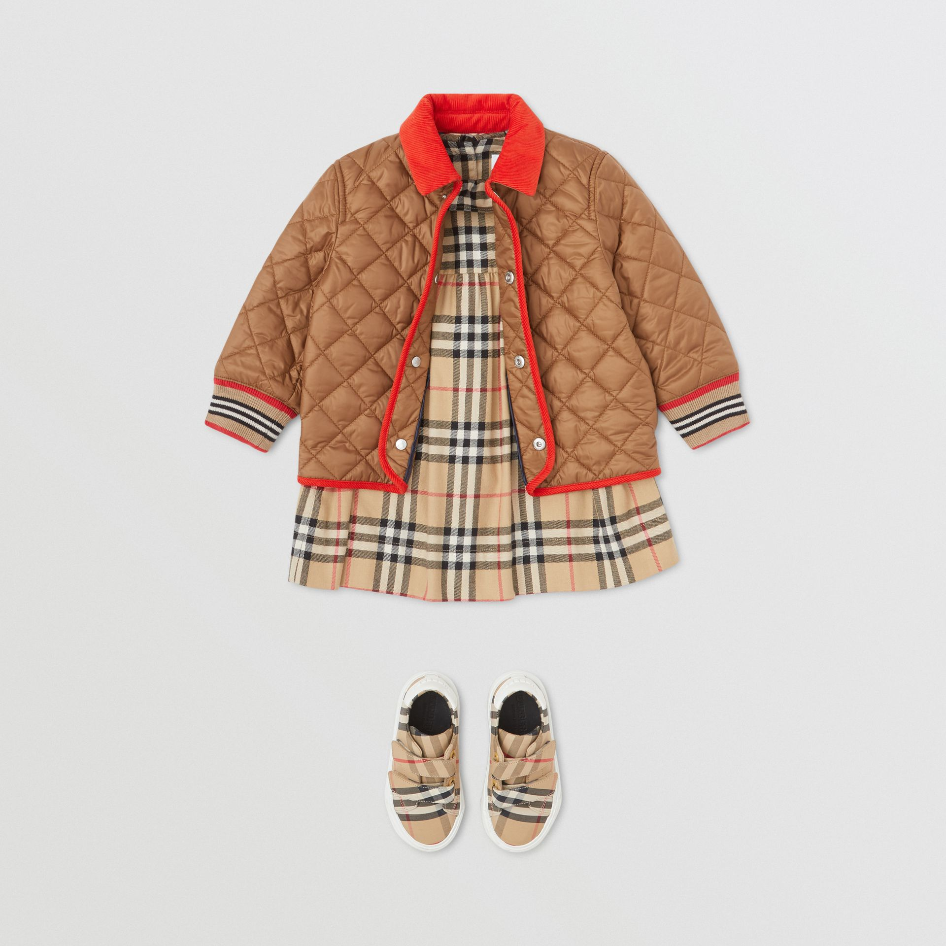 Corduroy Trim Lightweight Diamond Quilted Jacket in Bronze - Children | Burberry - gallery image 2
