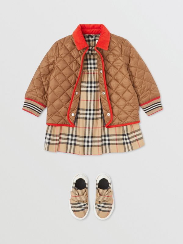 Corduroy Trim Lightweight Diamond Quilted Jacket in Bronze - Children | Burberry - cell image 2