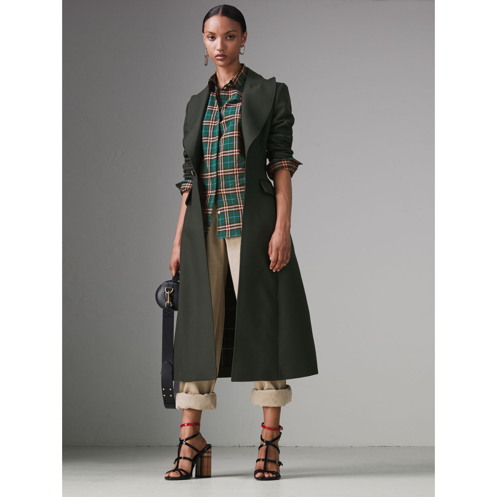 Check Cotton Shirt in Dark Forest Green - Women | Burberry - gallery image 4