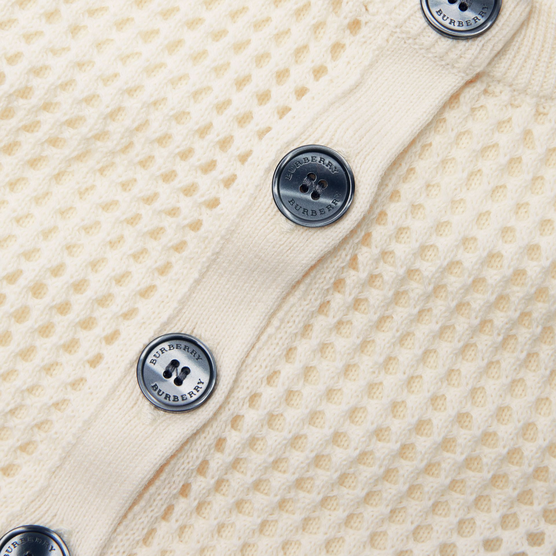 Open Knit Cotton Crew Neck Cardigan in Ivory - Children | Burberry Australia - gallery image 1