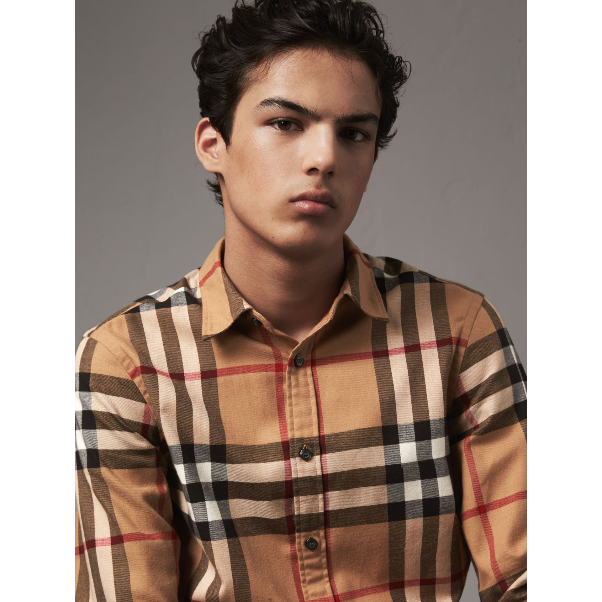 Check Cotton Flannel Shirt in Camel - Men | Burberry Canada - gallery image 2