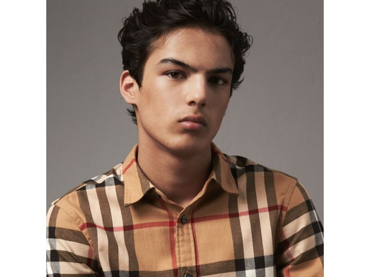 Check Cotton Flannel Shirt in Camel - Men | Burberry - cell image 1