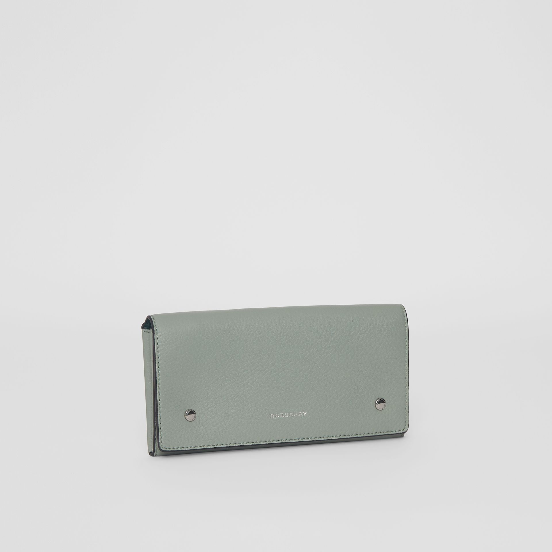 Two-tone Leather Continental Wallet in Grey Blue - Women | Burberry Canada - gallery image 4