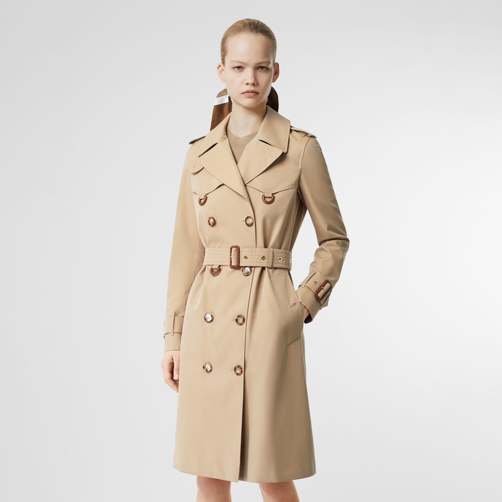 Leather D-ring Detail Cotton Gabardine Trench Coat in Honey - Women | Burberry - gallery image 0
