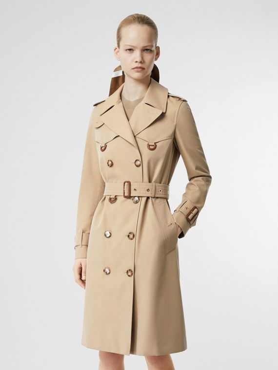Leather D-ring Detail Cotton Gabardine Trench Coat in Honey