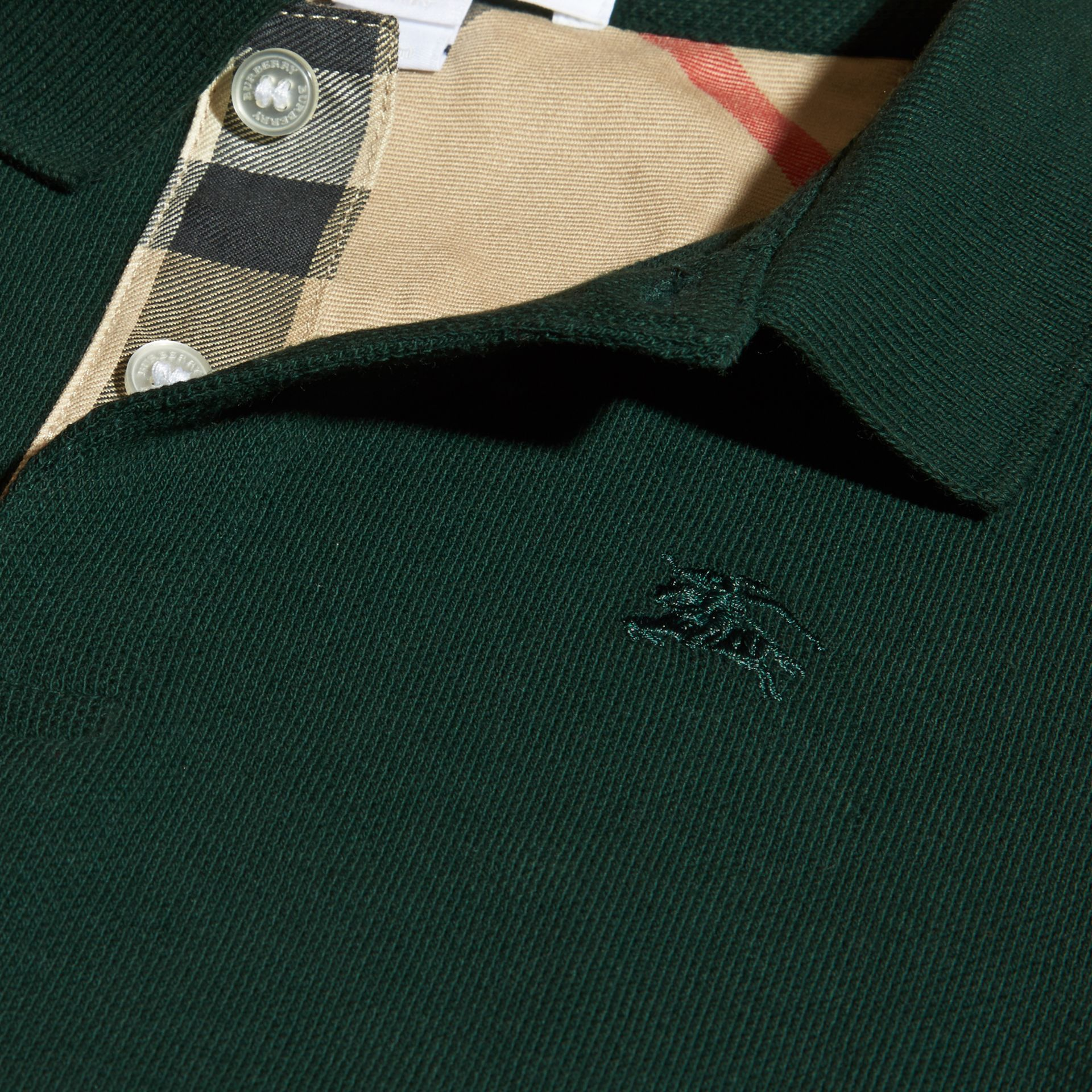 Racing green Check Placket Polo Shirt Racing Green - gallery image 2