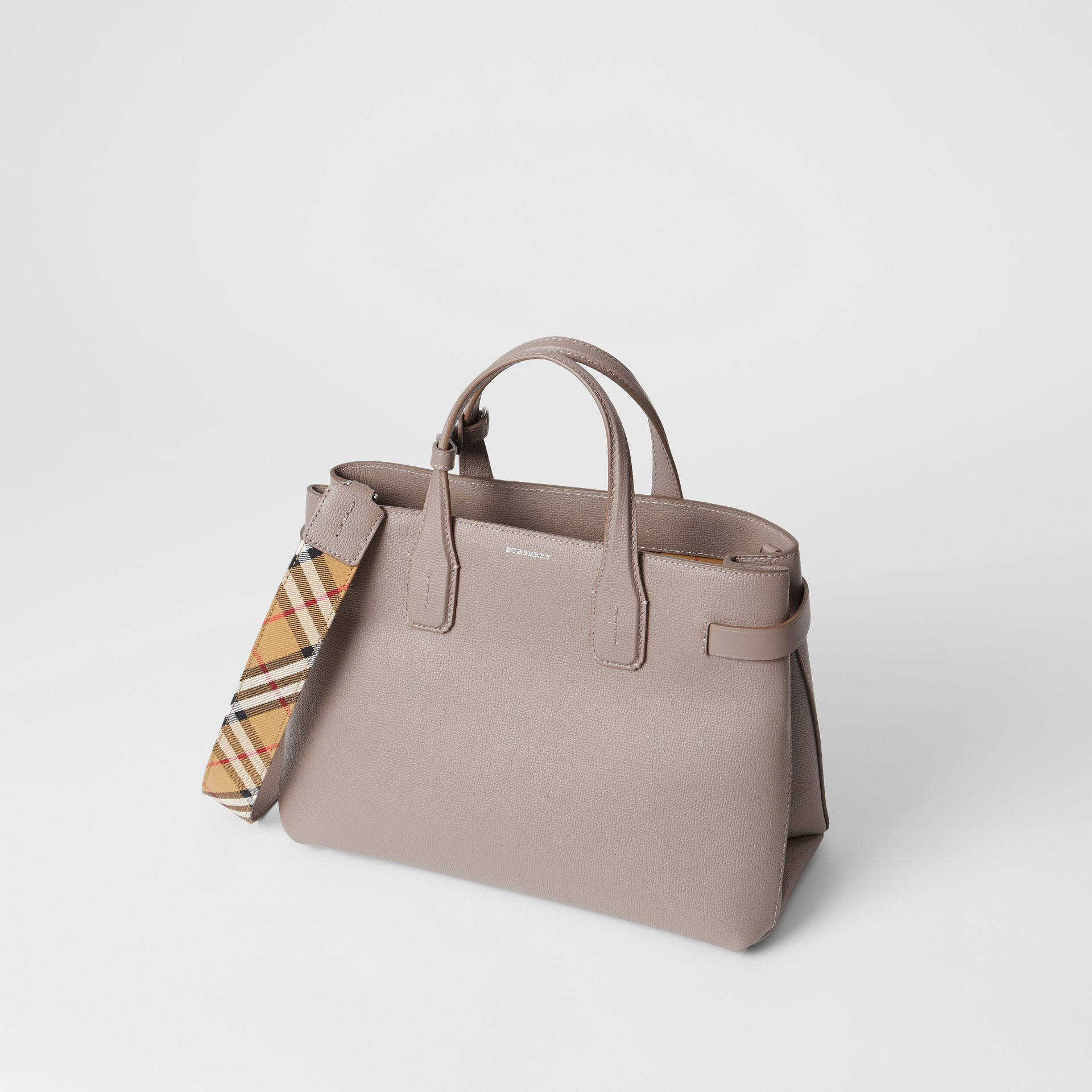 The Medium Banner in Leather and Vintage Check in Taupe Brown - Women | Burberry Australia - gallery image 4
