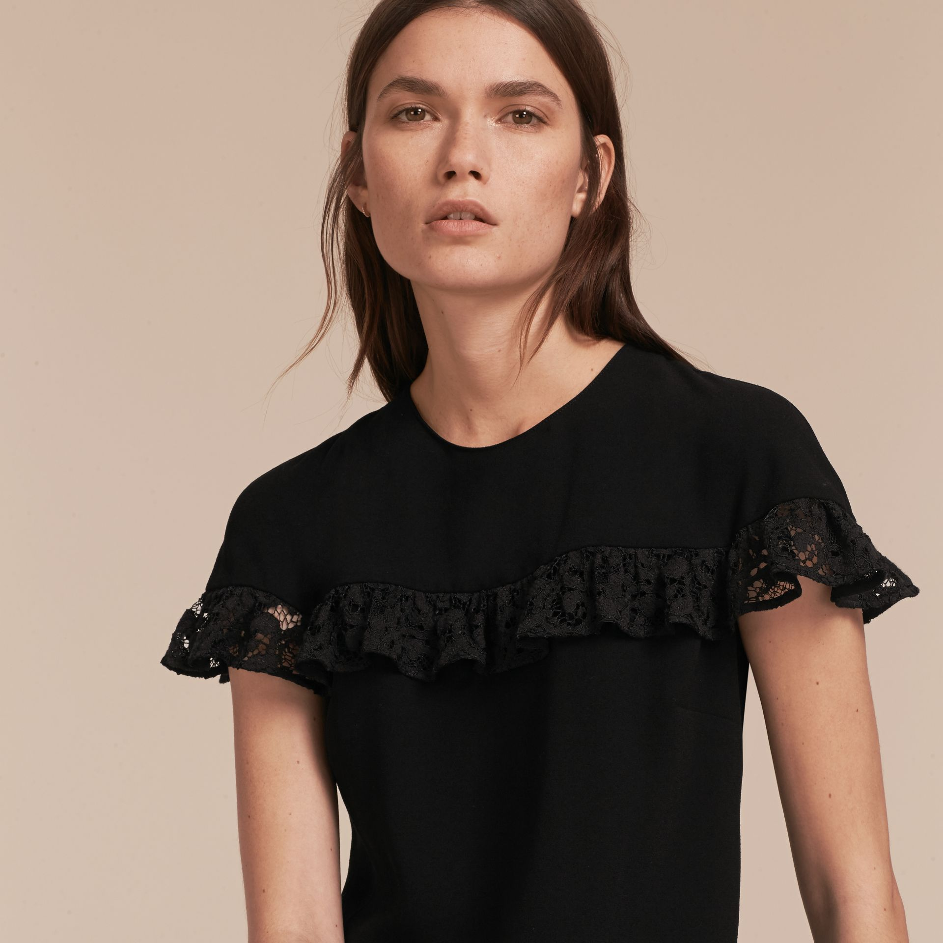 Black Shift Dress with Lace Ruffle - gallery image 5