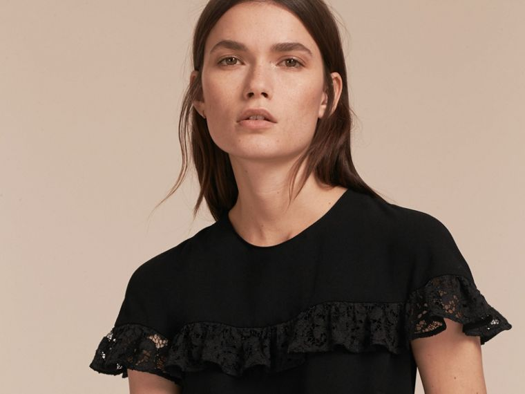 Shift Dress with Lace Ruffle - cell image 4