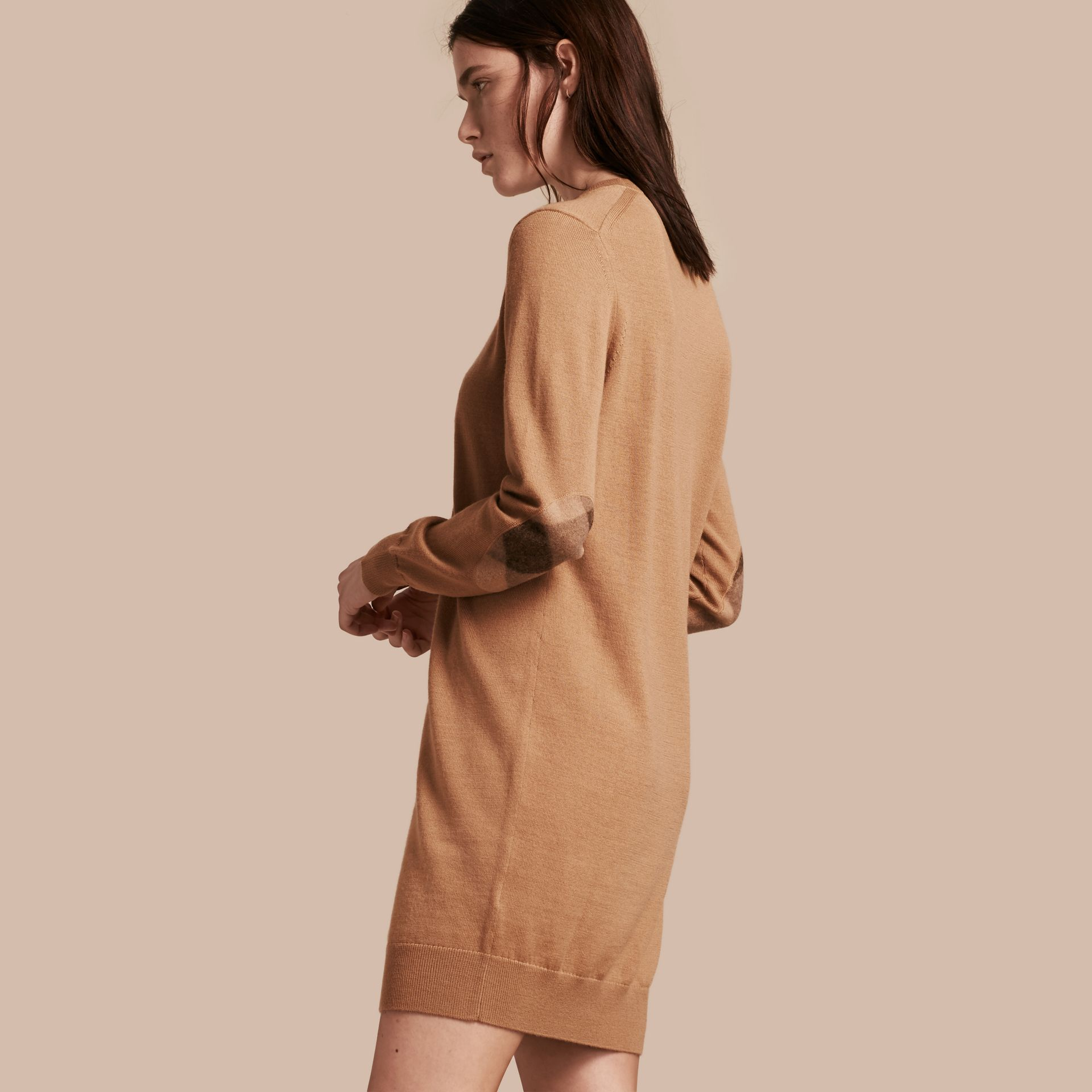 Check Elbow Detail Merino Wool Sweater Dress in Camel - gallery image 1