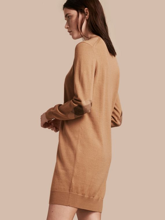 Check Elbow Detail Merino Wool Sweater Dress in Camel