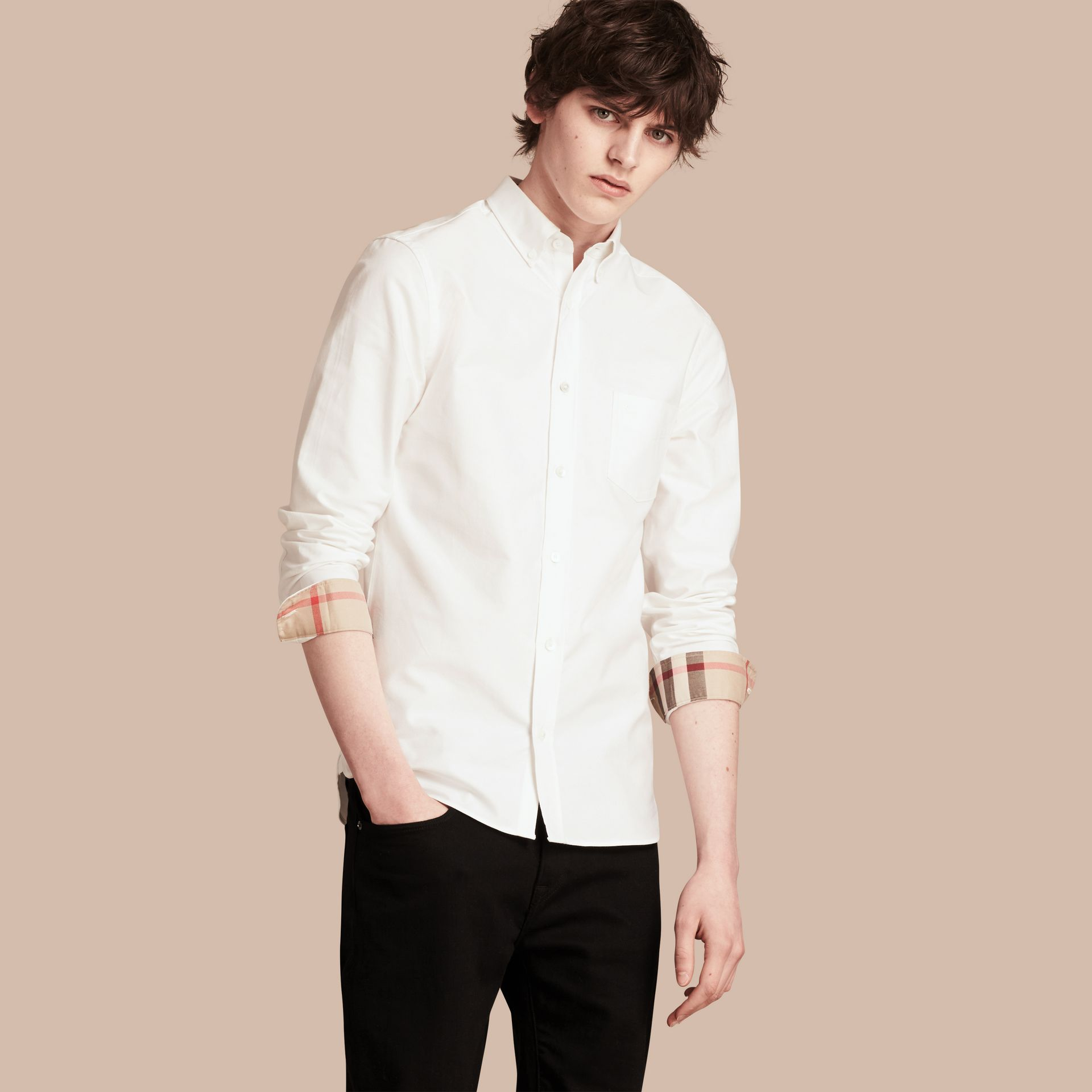 Check Detail Cotton Oxford Shirt in White - Men | Burberry - gallery image 1