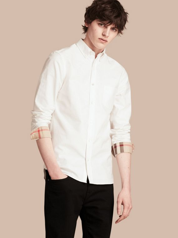 Check Detail Cotton Oxford Shirt in White - Men | Burberry Canada