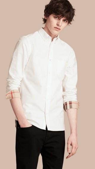 Camicia Oxford in cotone con dettagli check