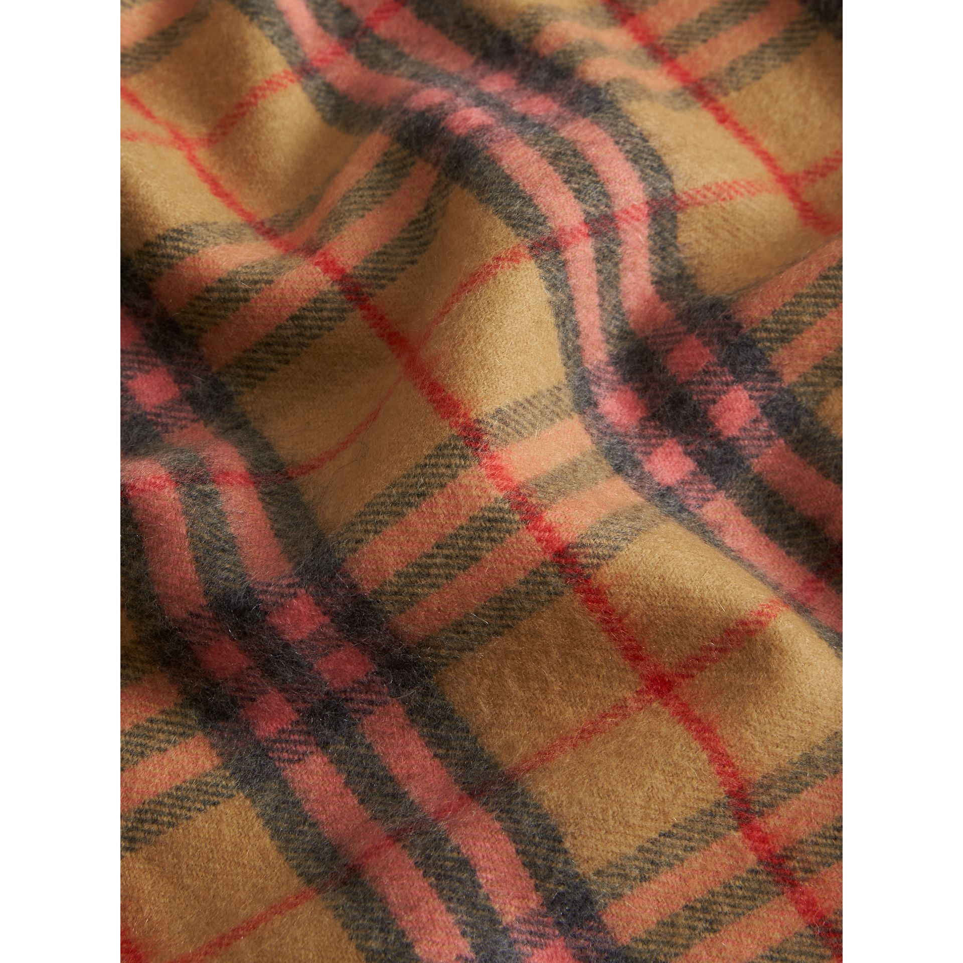 Check Cashmere Baby Blanket in Golden Peach - Children | Burberry - gallery image 1