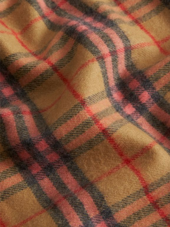 Check Cashmere Baby Blanket in Golden Peach - Children | Burberry United Kingdom - cell image 1