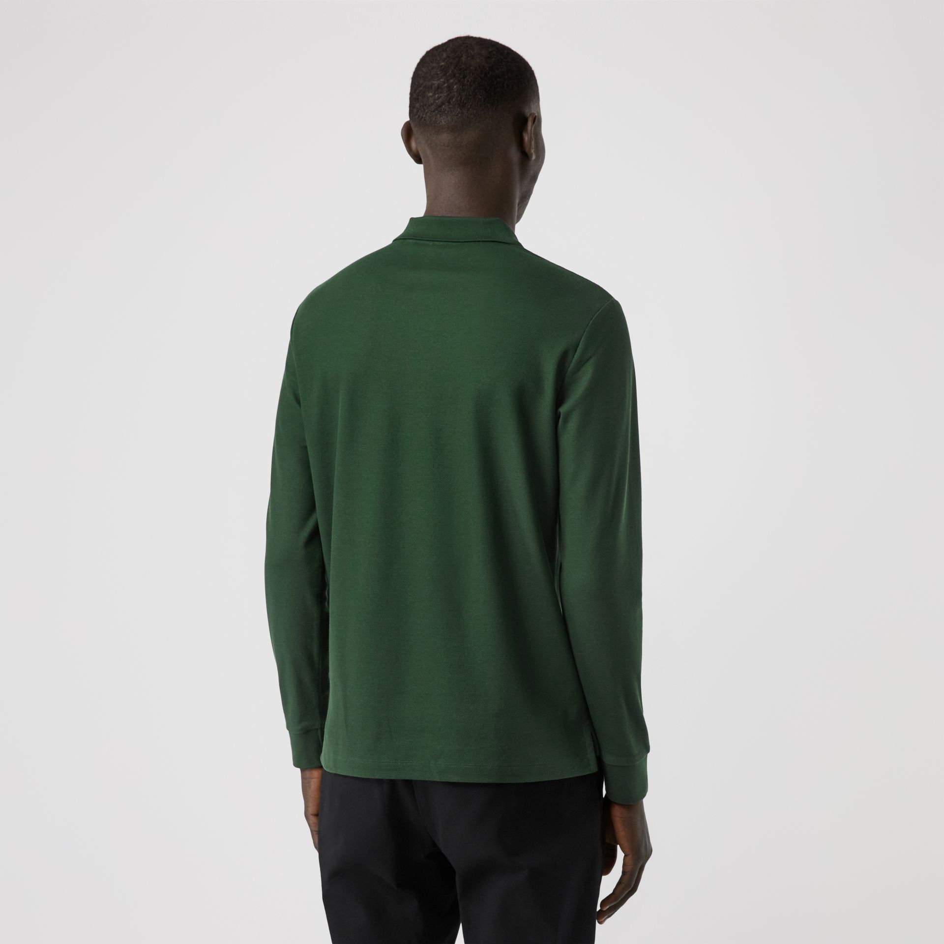 Long-sleeve Monogram Motif Cotton Piqué Polo Shirt in Dark Pine Green - Men | Burberry - gallery image 2