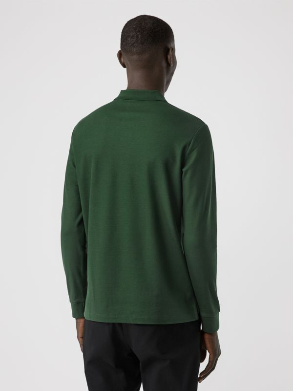 Long-sleeve Monogram Motif Cotton Piqué Polo Shirt in Dark Pine Green - Men | Burberry - cell image 2