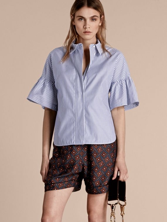 Striped Cotton Shirt with Ruched Sleeves - Women | Burberry