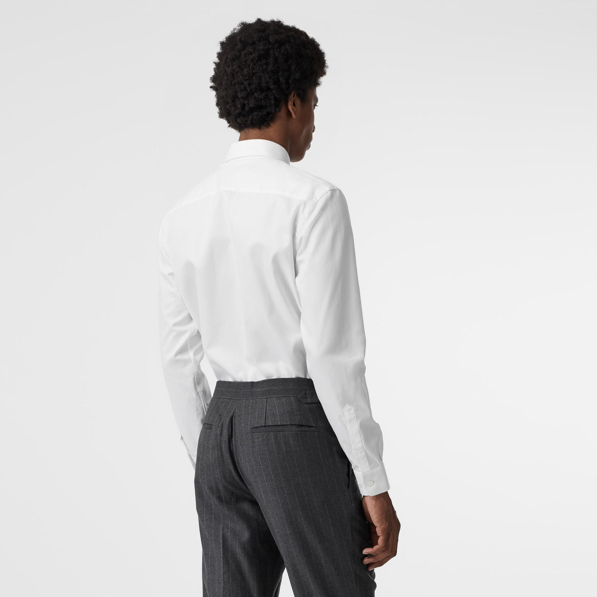 Modern Fit Cotton Shirt in White - Men | Burberry Australia - gallery image 2
