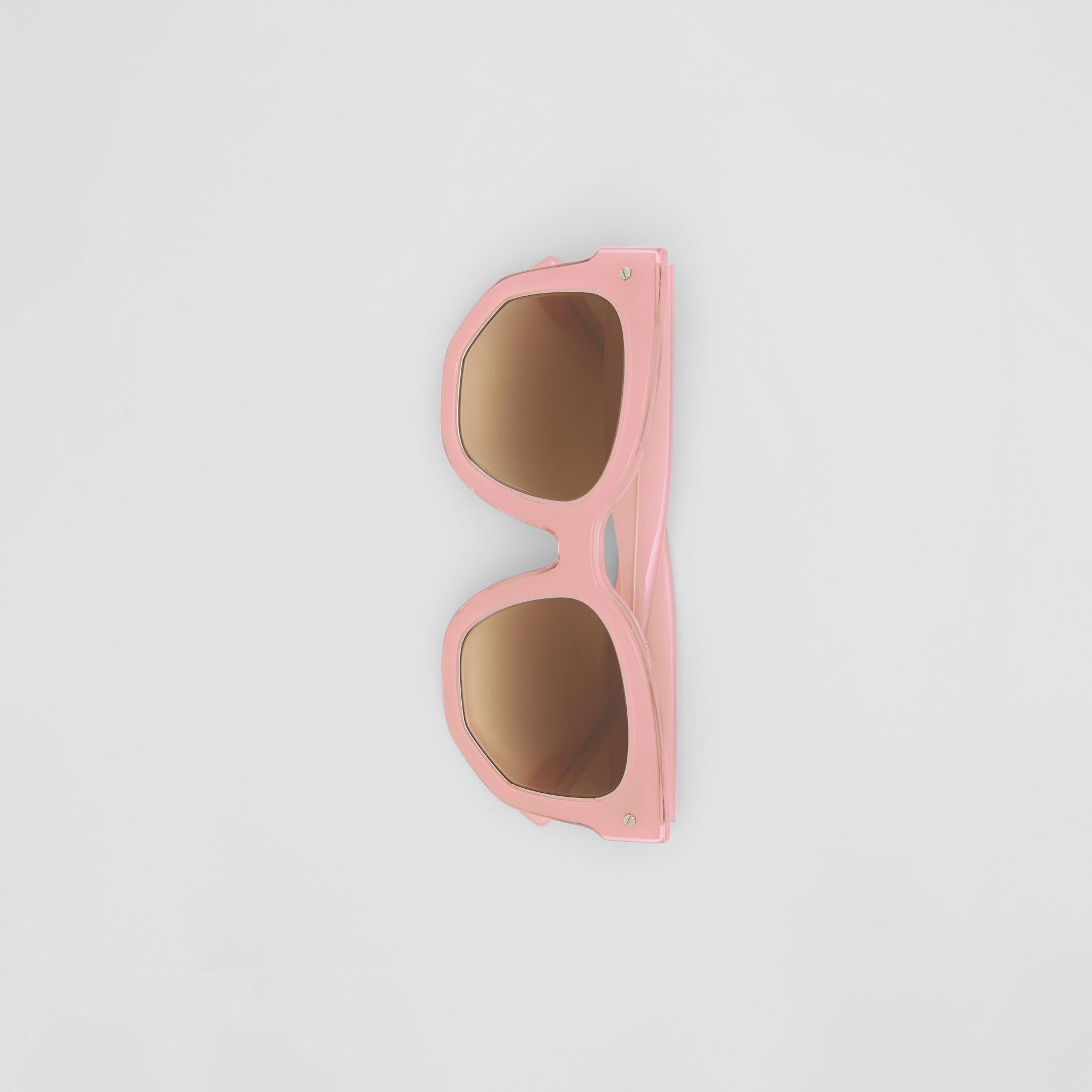 Geometric Frame Sunglasses in Pink - Women | Burberry Australia - gallery image 3