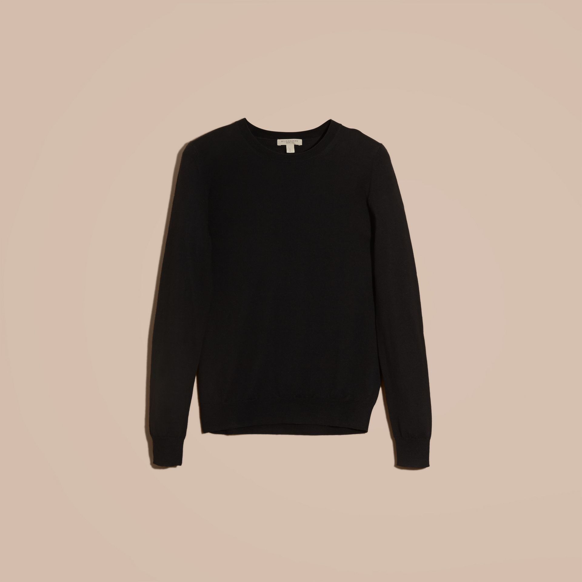 Check Detail Merino Wool Crew Neck Sweater Black - gallery image 4