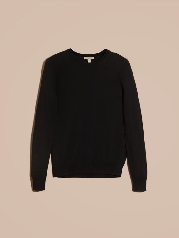 Check Detail Merino Wool Crew Neck Sweater in Black - Women | Burberry - cell image 3