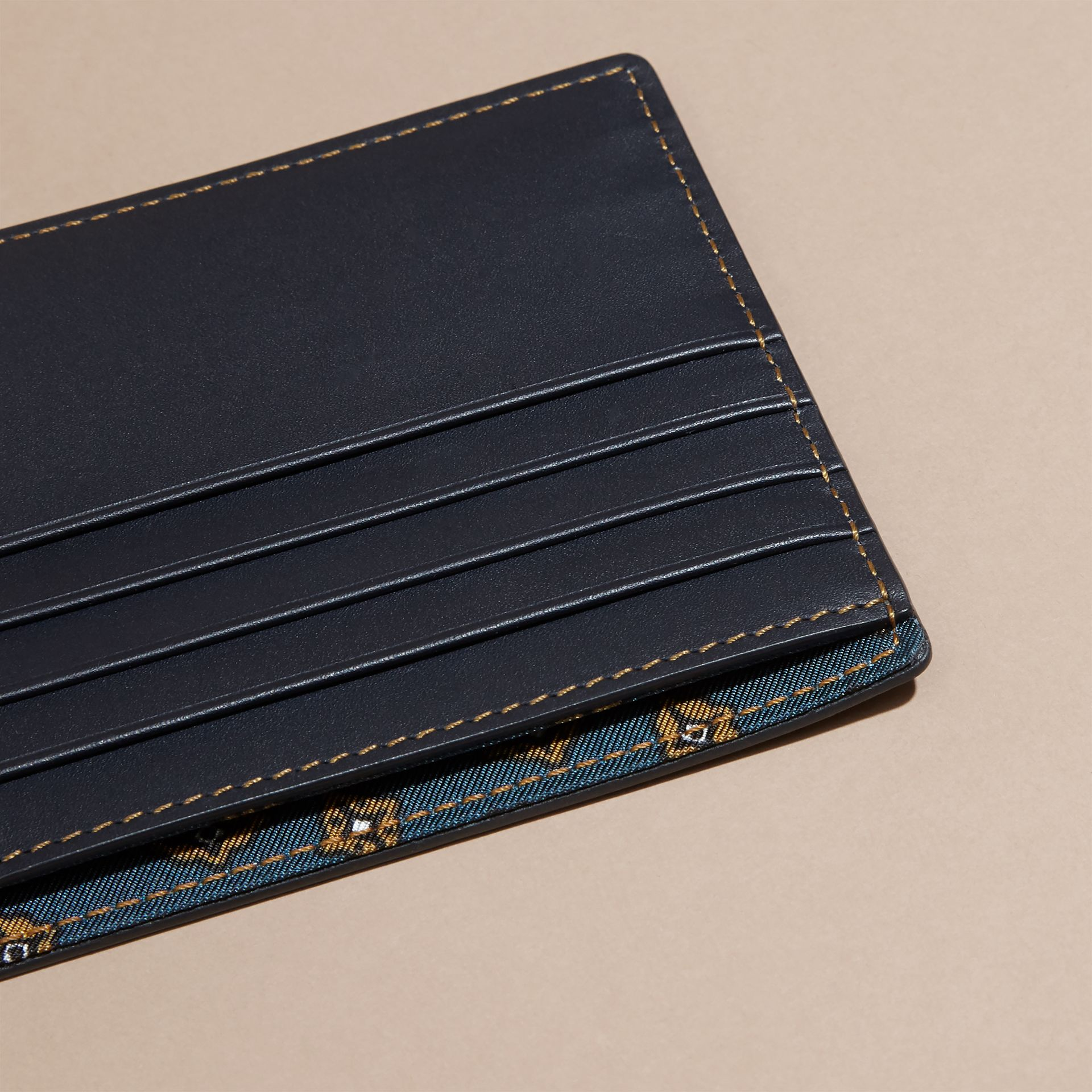 Dark navy Smooth Leather Folding Wallet Dark Navy - gallery image 5