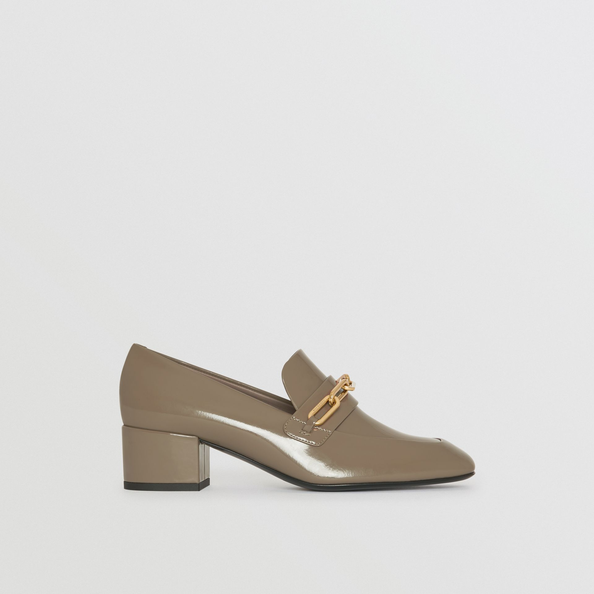 Link Detail Patent Leather Block-heel Loafers in Taupe Grey - Women | Burberry - gallery image 5