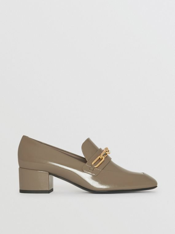 Link Detail Patent Leather Block-heel Loafers in Taupe Grey