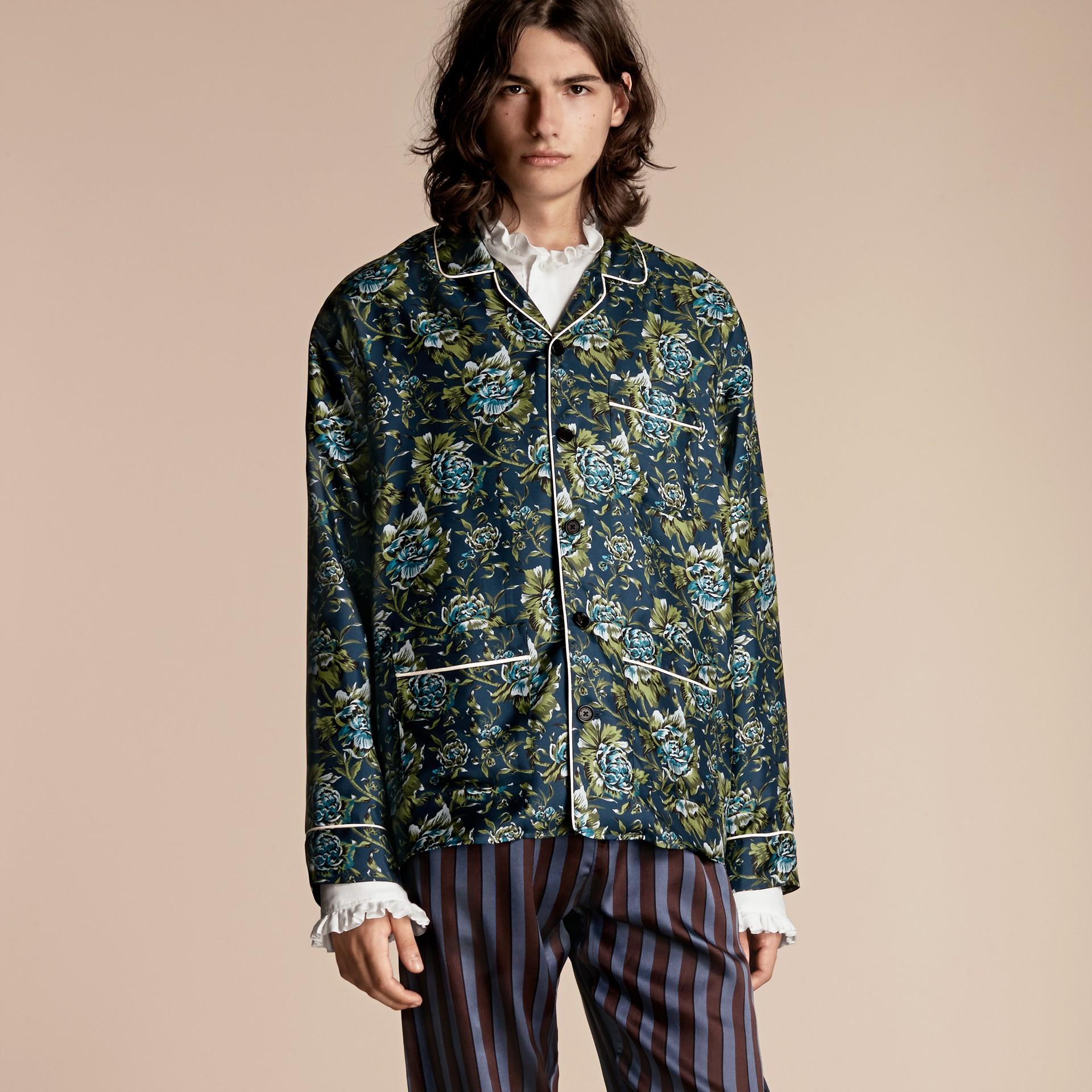 Peony Rose Silk Twill Pyjama-style Shirt - gallery image 1