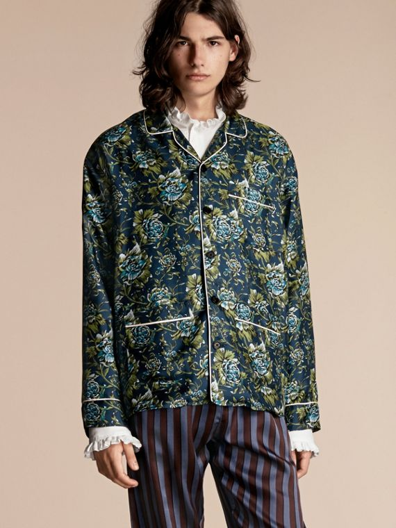 Hemd aus Seidentwill im Pyjamastil mit Pfingstrosenmotiv